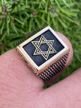 Mens 14k Gold & Real Solid 925 Sterling Silver Jewish Star Of Magen David Ring