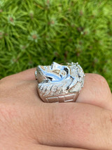 Mens Real Solid 925 Sterling Silver Jesus Face Ring Pinky Hip Hop Anillo Cz 7-13