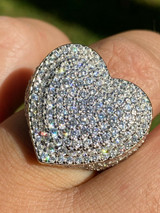 Real Solid 925 Sterling Silver Hip Hop Men Ladies Large Heart Iced Diamond Ring