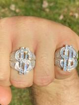 Real Solid 925 Sterling Silver Men's Hip Hop Dollar Sign $ Iced Pimped Out Ring