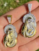 Real Solid 925 Silver & 14k Gold Virgin Mary Iced Diamond Pendant Mens Hip Hop
