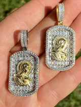 Real Solid 925 Silver Virgin Mary Iced Baguette Diamond DogTag Pendant Necklace