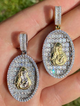 Solid 925 Silver & 14k Gold Virgin Mary Iced Diamond Medallion Pendant Necklace