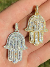 Real 925 Sterling Silver Hamsa Hand Pendant Iced Baguette Diamond Necklace Gold