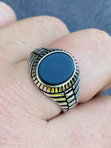 Mens Real Solid 925 Sterling Silver Black Onyx Signet Ring Round Pinky Sz 7-13