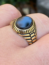 Mens 14k Gold Over Real Solid 925 Sterling Silver Black Onyx Round Signet Ring