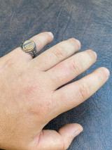 Mens Real Solid 925 Sterling Silver Tiger's Eye Signet Ring Round Pinky Sz 7-13