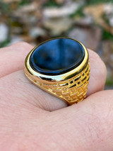 Solid 14k Gold Over Real 925 Sterling Silver Black Onyx Stone Mens LARGE Ring
