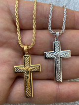 Real Solid 925 Sterling Silver Gold Vermeil Jesus Plain Cross Pendant Necklace