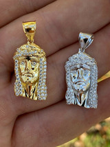 "Real Solid 925 Silver Small 1"" Mini Jesus Piece Necklace Gold Pendant Mens Iced"