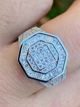 Men's Real Solid 925 Silver Octagonal Hip Hop RING Iced Pinky Baguette Diamond