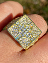 Large Real Solid 925 Sterling Silver 14k Gold Mens Diamond Ring Hip Hop Iced