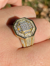 REAL Men's 14k Gold Over Solid 925 Silver Hip Hop Iced Flooded Out Diamond Ring
