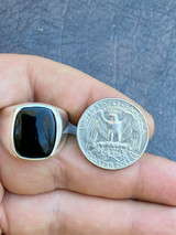Real Solid 925 Sterling Silver Black Onyx Natural Stone Mens Signet Plain Ring