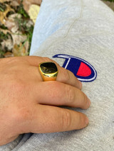 14k Gold Over Real Solid 925 Sterling Silver Black Onyx Stone Mens Signet Ring