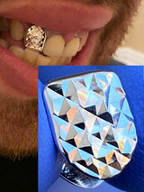 SOLID 925 Sterling Silver Single Tooth Grillz Hip Hop Grill Cap Diamond Cut REAL