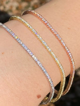 Solid 925 Silver 1.5mm Thin Ladies Tennis Diamond Bracelet 14k Gold Or Rose 7.5""