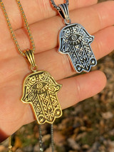 Solid 925 Sterling Silver Hamsa Hand Of Fatima Pendant Gold Necklace Large 1.75""