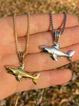 Solid 925 Sterling Silver 3D Great White Shark Gold Large Mens Ladies Necklace