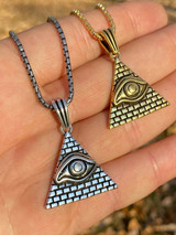 Real 925 Silver Illuminati All Seeing Eye Egyptian Pyramid Pendant Gold Necklace