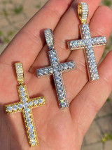 Real Solid 925 Silver Mens Hip Hop 3D Cross Pendant Iced Diamond Gold Necklace