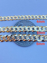 Men's Cuban Link Chain Real 14k Gold & Solid 925 Silver Diamond Cut ITALY 4-11mm