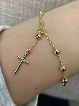 Rosary Bead Rosario Cross Ladies Bracelet 14k Gold Over Real 925 Sterling Silver