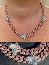 Real Miami Cuban Chain Choker Necklace W. Butterfly Iced Silver Choker Rose Gold