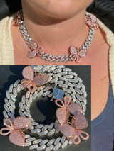 Ladies 12mm Miami Cuban Chain Choker Necklace Rose Gold Butterfly Iced Choker
