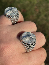 Men's Real Solid 925 Sterling Silver Iced Jesus Cross Nugget Ring Pinky Diamond