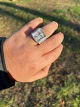 Men's Solid 925 Sterling Silver Iced Hip Hop Baguette Diamond Pinky Cross Ring