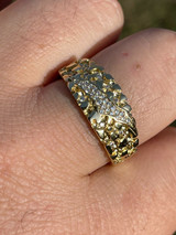 Men REAL Solid 925 Sterling Silver & 14k Gold Nugget Band Ring W. Iced Claw Mark