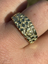 REAL Solid 925 Sterling Silver & 14k Gold Nugget Band Plain Pinky Or Ring Finger
