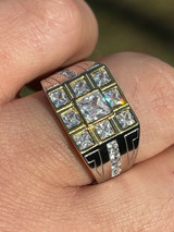 Mens REAL Solid 925 Sterling Silver W 10k Gold Bezel Iced Baguette Diamond Ring