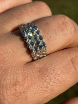 Mens REAL Solid 925 Sterling Silver Nugget Ring Iced Baguette Diamonds Sz 6-13