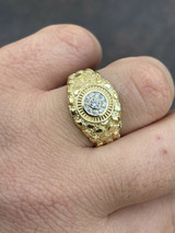 Mens 14k Gold Over REAL Solid 925 Silver Nugget Ring Solitaire Iced Diamonds