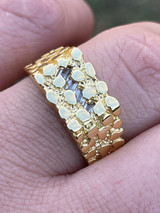 14k Gold Over REAL Solid 925 Sterling Silver Nugget Ring Iced Baguette Diamonds