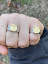 Mens Solid 925 Sterling Silver & 14k Yellow Gold Coin Ring Jesus On Cross Nugget