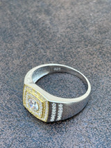 Mens REAL Solid 925 Sterling Silver W 10k Gold Bezel Iced Diamond Solitaire Ring