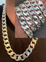 Mens Real Solid 925 Sterling Silver Miami Cuban Link Kilo Chain 17.5mm 300 Grams