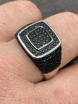 Mens Real Solid 925 Sterling Silver Oxidized Ring Black Diamond Iced Hip Hop