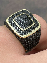 Mens Real Solid 925 Sterling Silver 14k Gold Oxidized Ring Black Diamond Iced