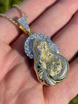 Men's Solid 925 Silver & Gold Baguette Virgin Mary Pendant Ice Diamond Hip Hop