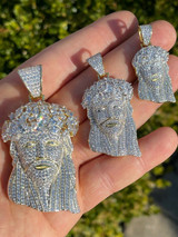 HipHop 14k Gold & 925 Sterling Silver Two Tone Baguette Jesus Piece Pendant Iced