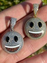 Real 925 Sterling Silver Hip Hop Smiley Face Emoji Pendant Necklace Iced Gold