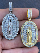 Real 925 Sterling Silver & 14k Gold - Virgin Mary Necklace Iced Baguette Pendant