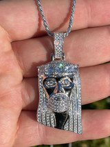 "Real Solid 925 Silver 4.5ct Diamond Jesus Piece Pendant 1""x2"" Hip Hop Fully Iced"