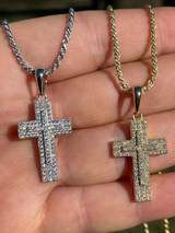 "Real 925 Sterling Silver Or Gold Cross Crucifix Pendant Necklace Iced 1"" Small"