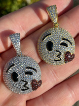 Real 925 Sterling Silver Hip Hop Kiss Face Emoji Pendant Necklace Iced Gold