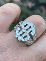 Real Solid 925 Sterling Silver Mens Hip Hop Nugget Dollar Sign $ Pimped Out Ring
